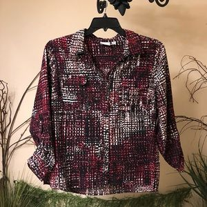 Kim Rogers red patterned blouse
